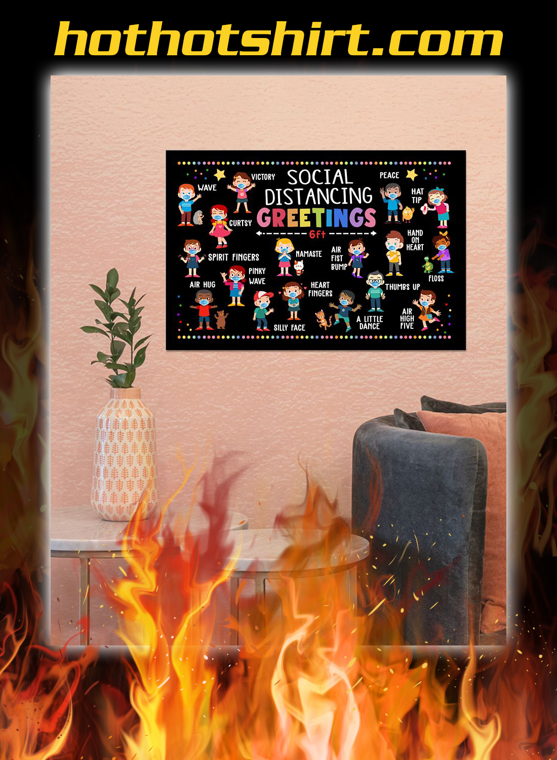 Classroom social distancing greetings 6ft poster 2