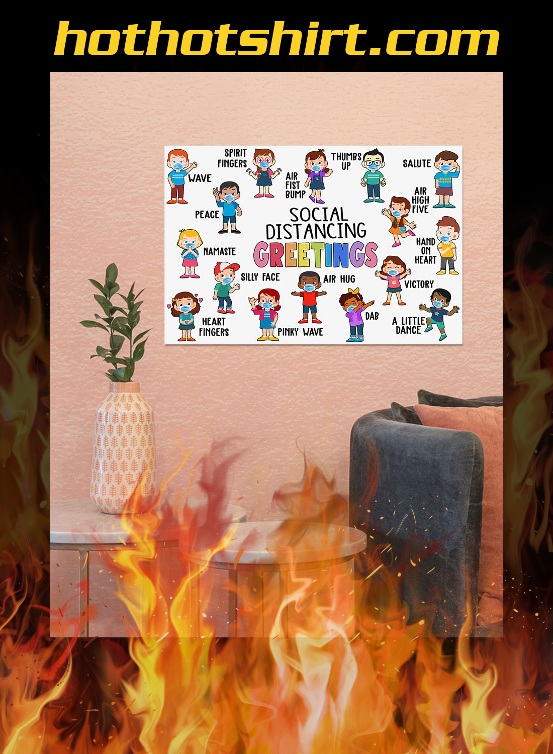 Classroom social distancing greetings poster 2