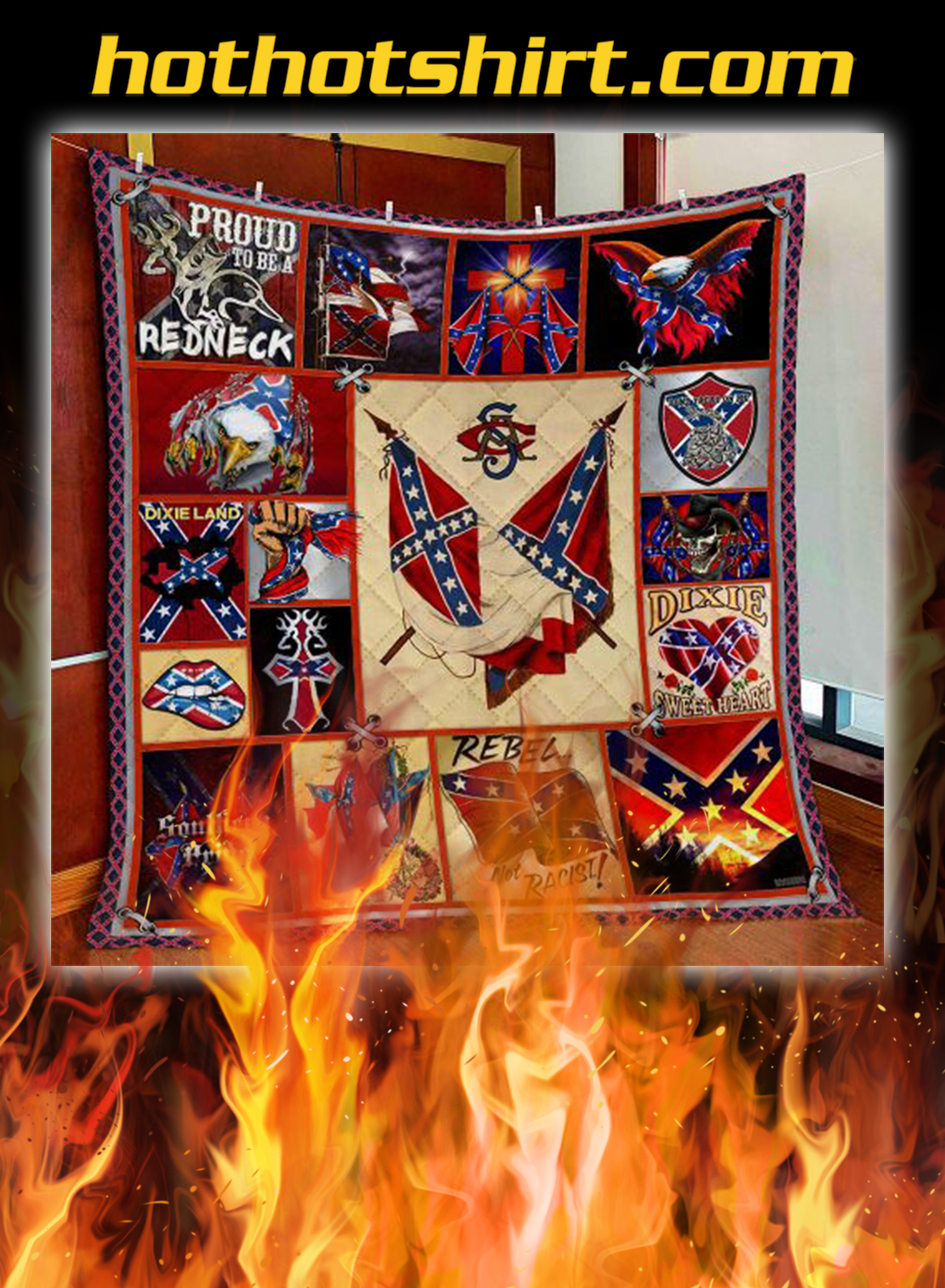 Confederate states of america quilt blanket- king