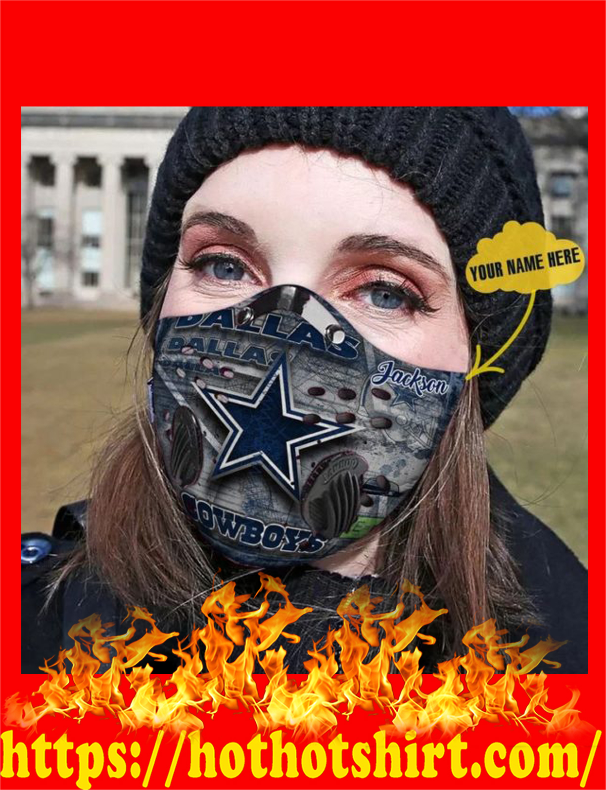 Dallas Cowboys personalized custom name filter face mask - detail
