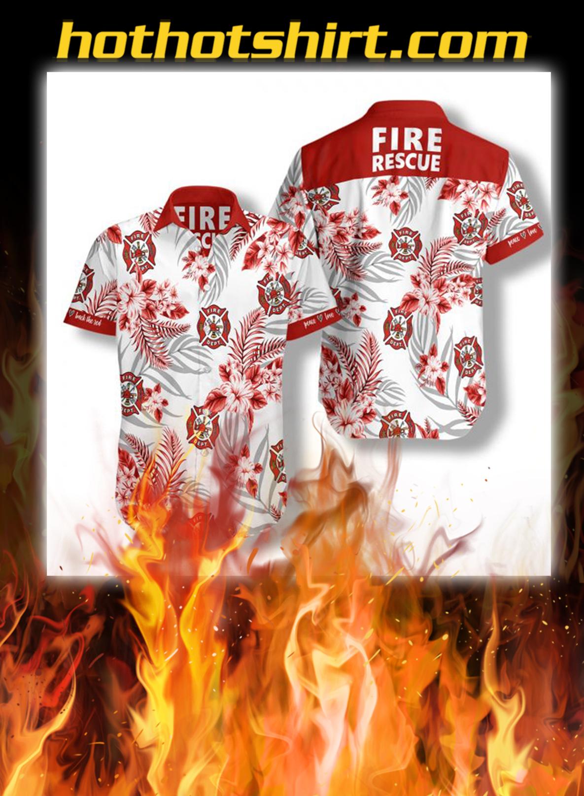 Firefighter fire rescue hawaiian shirt - L