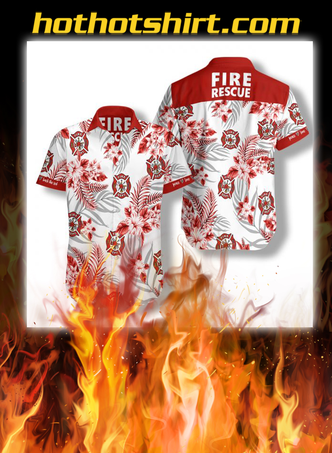 Firefighter fire rescue hawaiian shirt - S