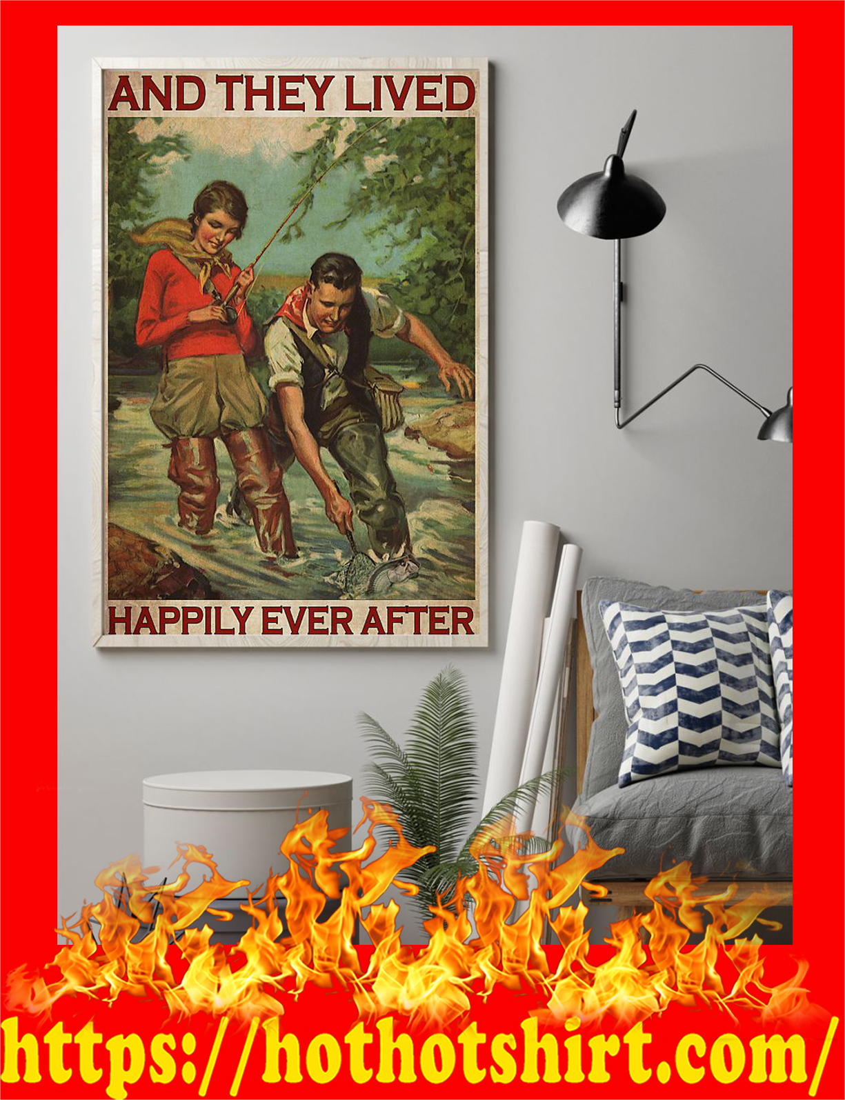 Fishing couple and they live happily ever after poster - Pic 1