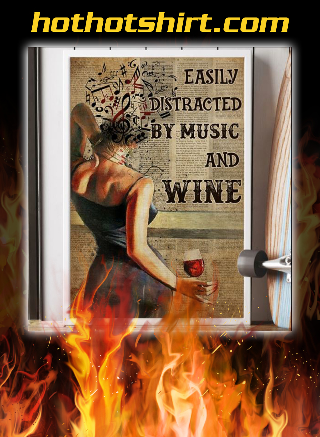 Girl easily distracted by music and wine poster 2