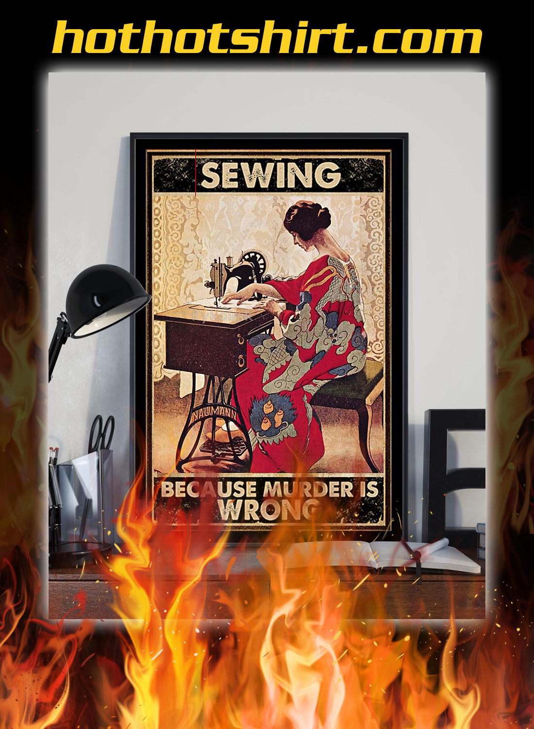 Girl sewing because murder is wrong poster 1