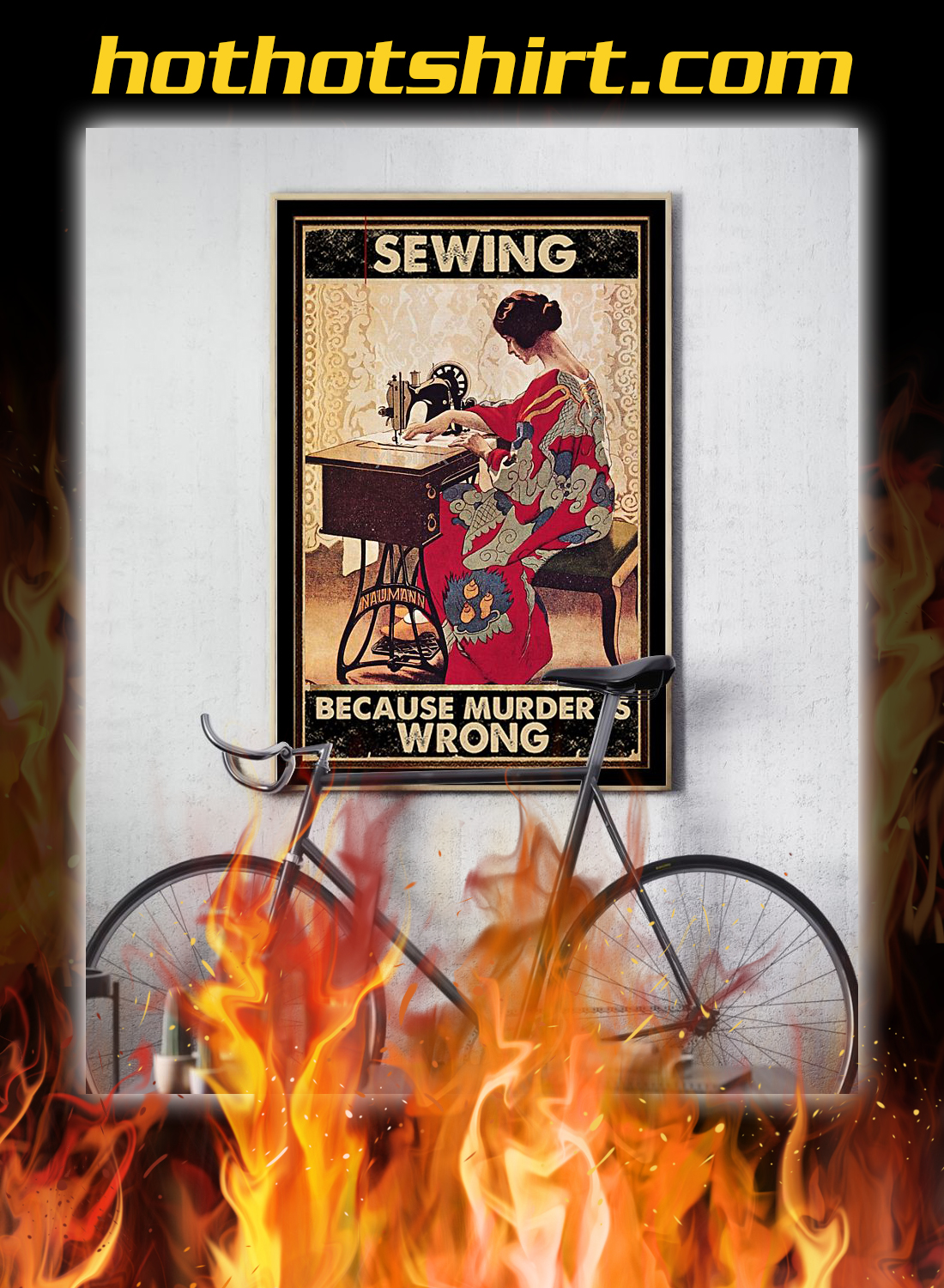 Girl sewing because murder is wrong poster 2