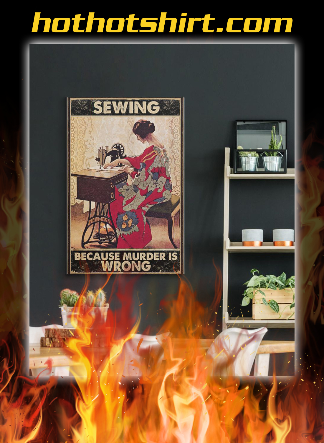 Girl sewing because murder is wrong poster 3