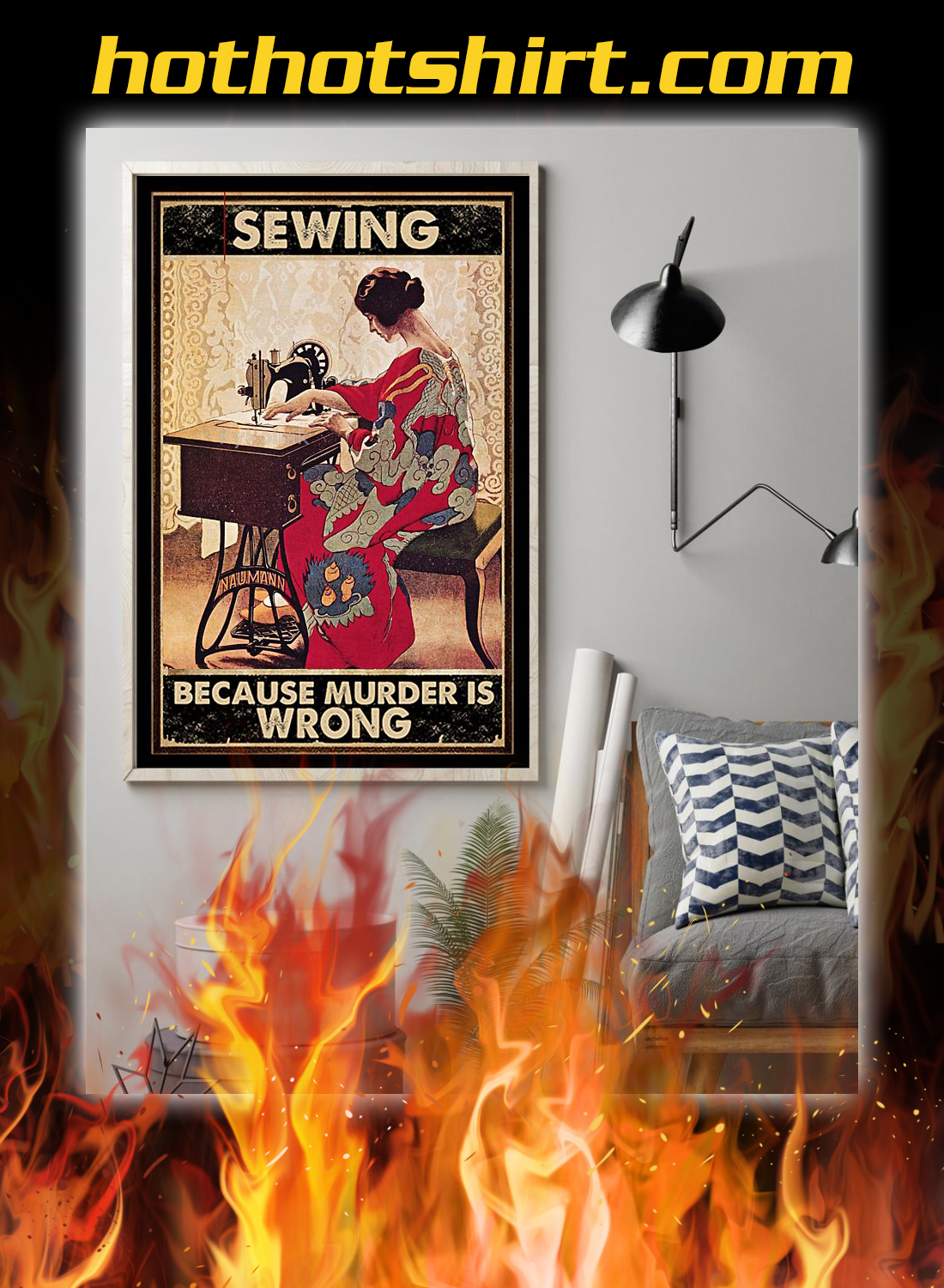 Girl sewing because murder is wrong poster