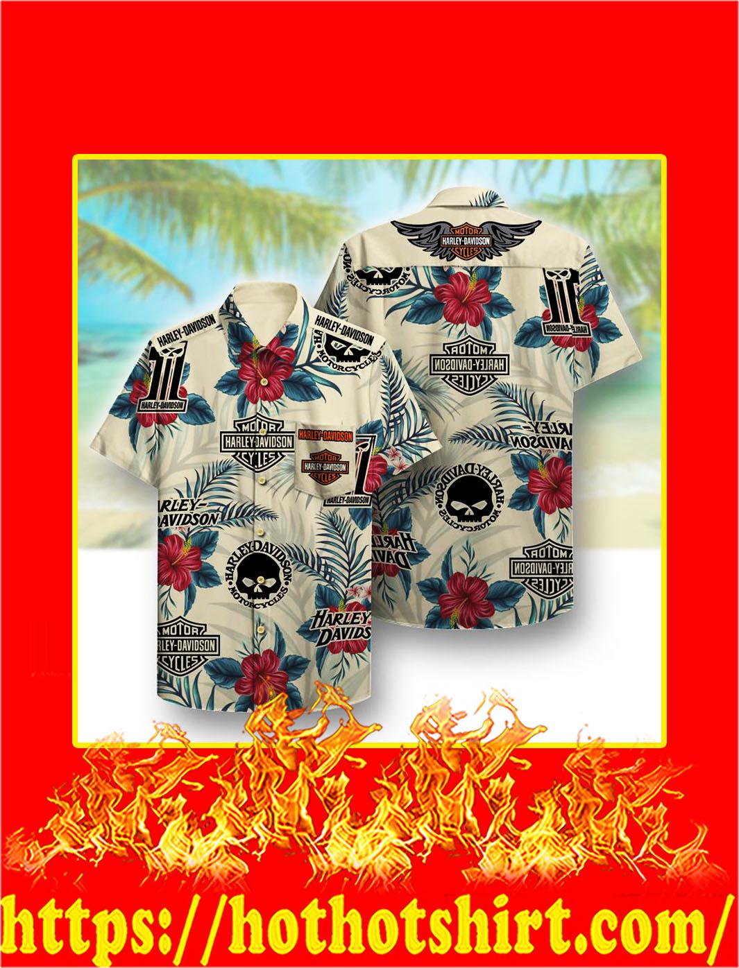 Harley davidson pattern hawaiian shirt