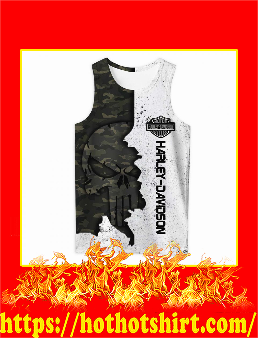 Harley davidson punisher skull camo 3d all over printed tank top