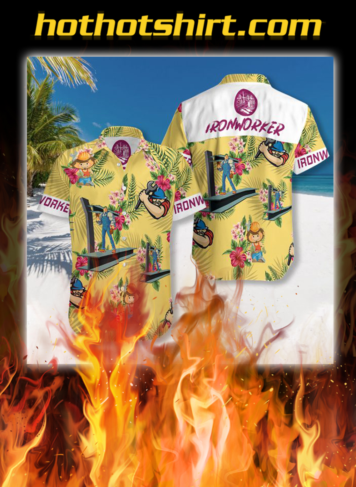 Ironworker hawaiian shirt - L