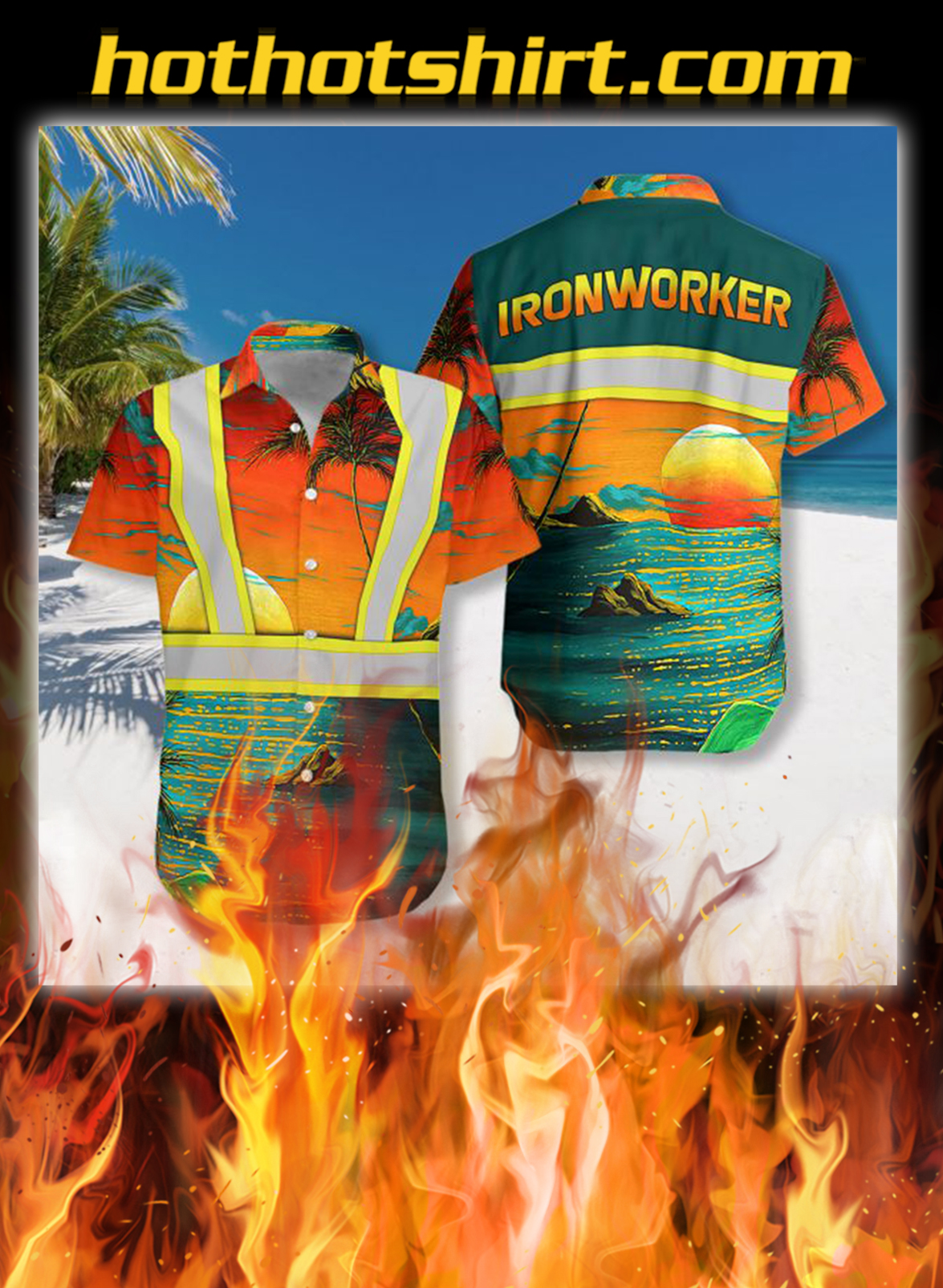 Ironworker safety hawaiian shirt - L