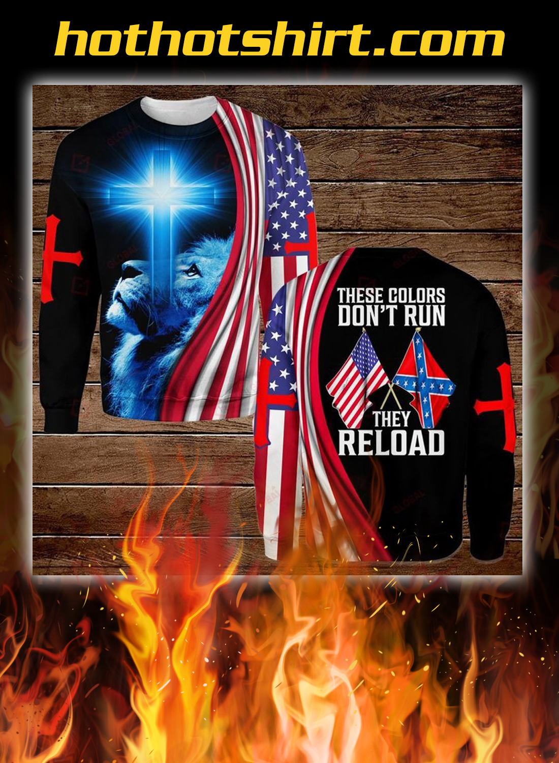 Lion confederate states of america flag these colors don't run they reload all over printed 3d shirt 2