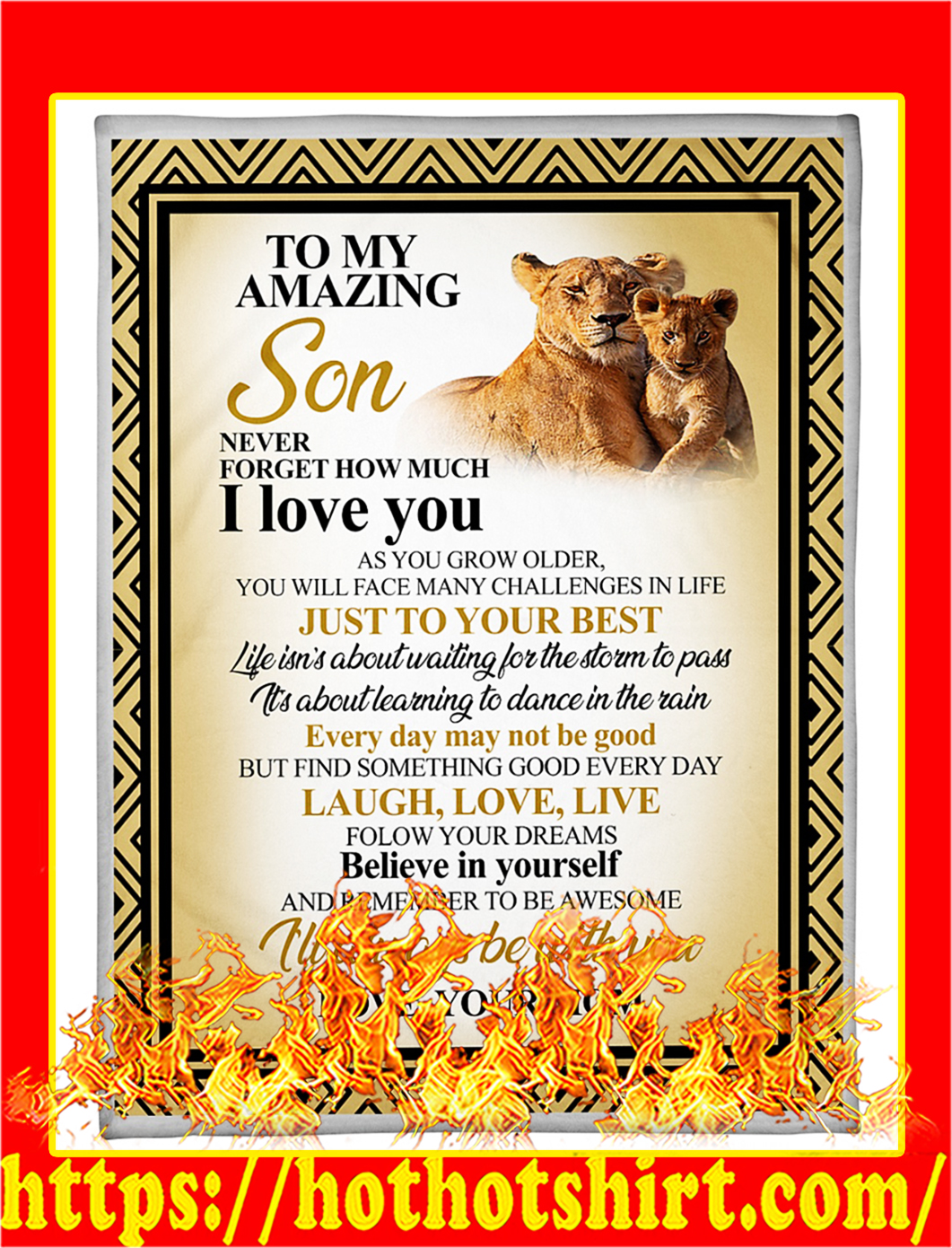 Lion to my amazing son your mom blanket - large