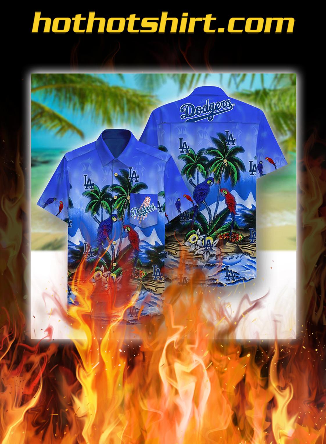 Los angeles dodgers beach pattern hawaiian shirt - M