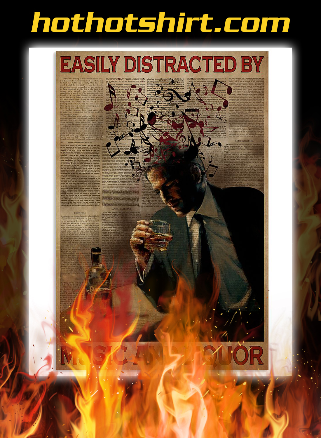 Man easily distracted by music and liquor poster 3