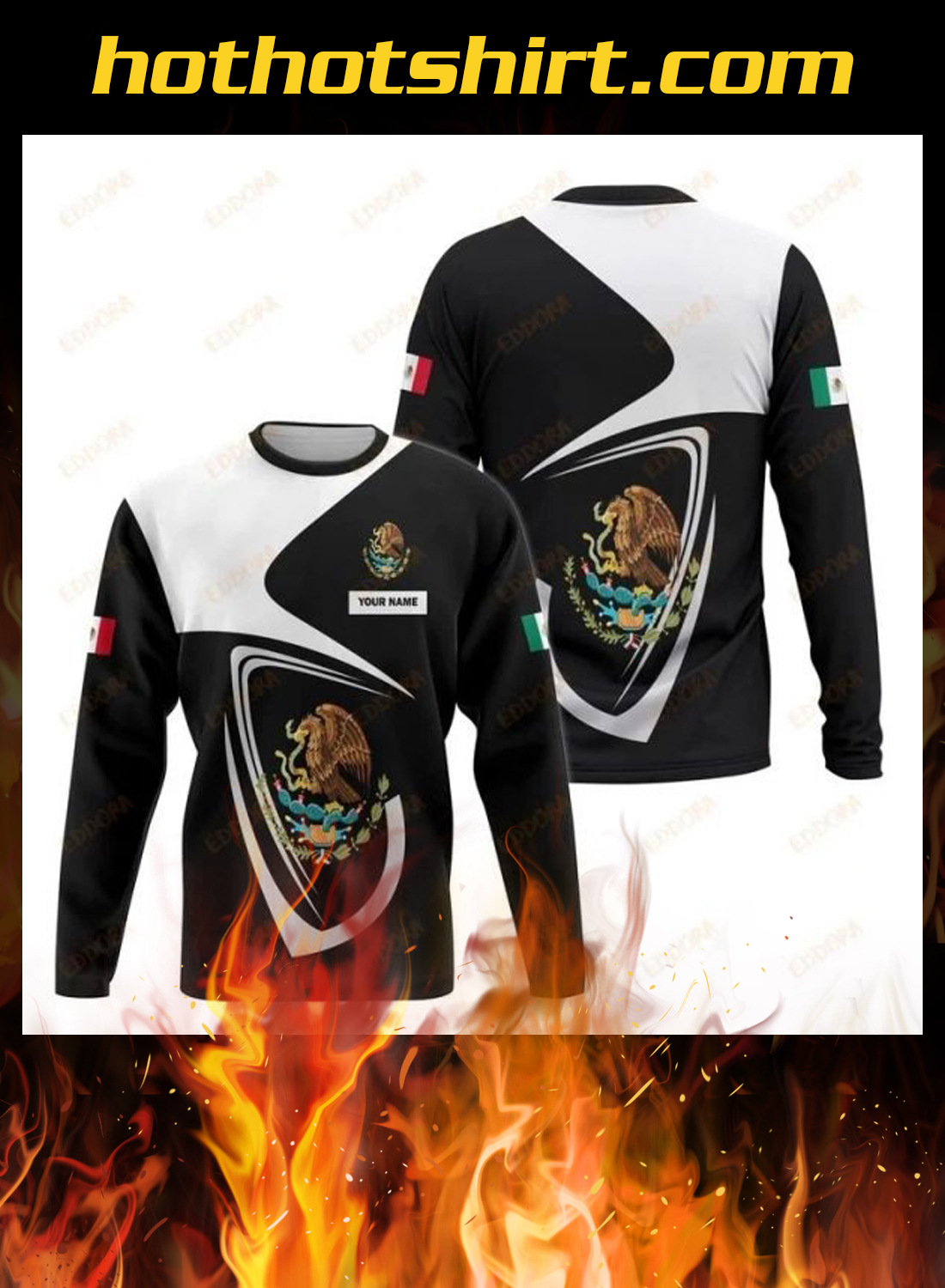 Mexico personalize custom name 3d hoodie, shirt 2