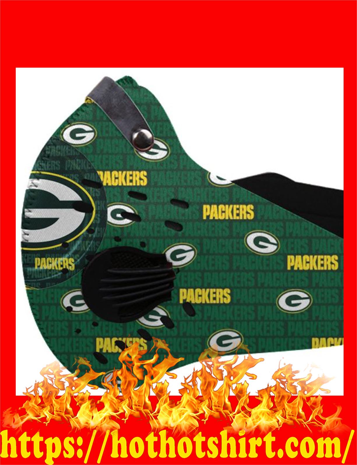NFL green bay packers filter face mask - detail