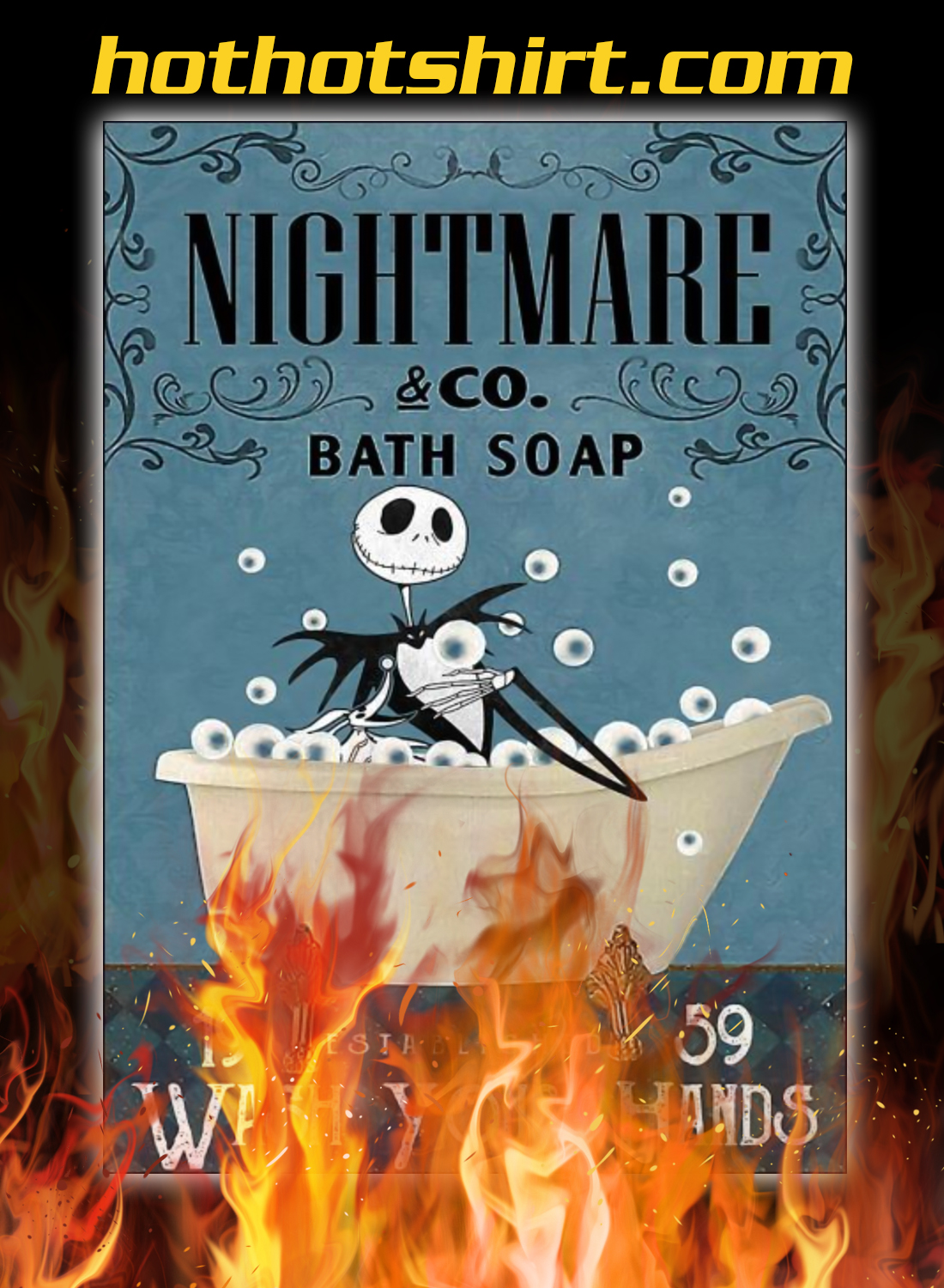 Nightmare Co Bath Soap Wash Your Hands Poster - A4