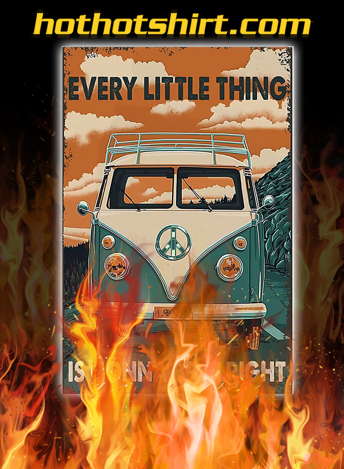 Peace car every little thing is gonna be alright poster - A2