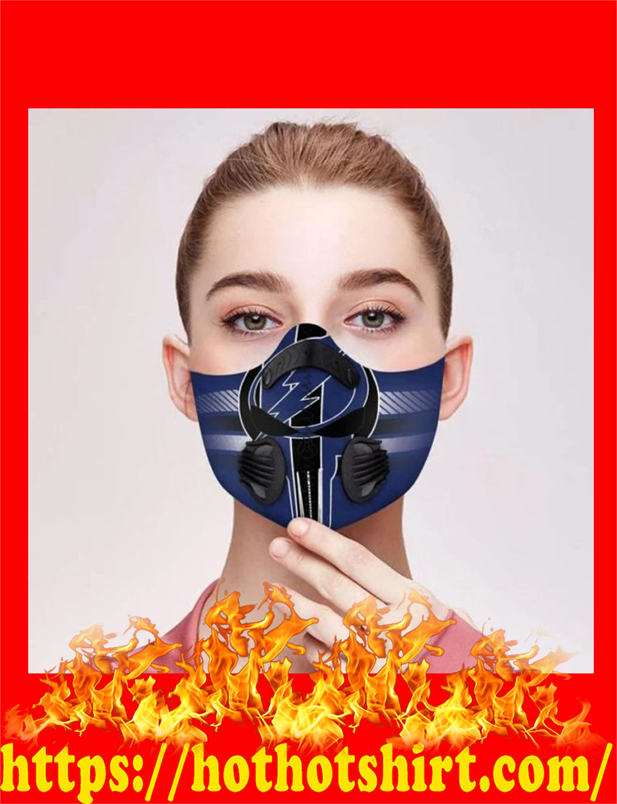 Punisher skull Tampa bay filter face mask - detail