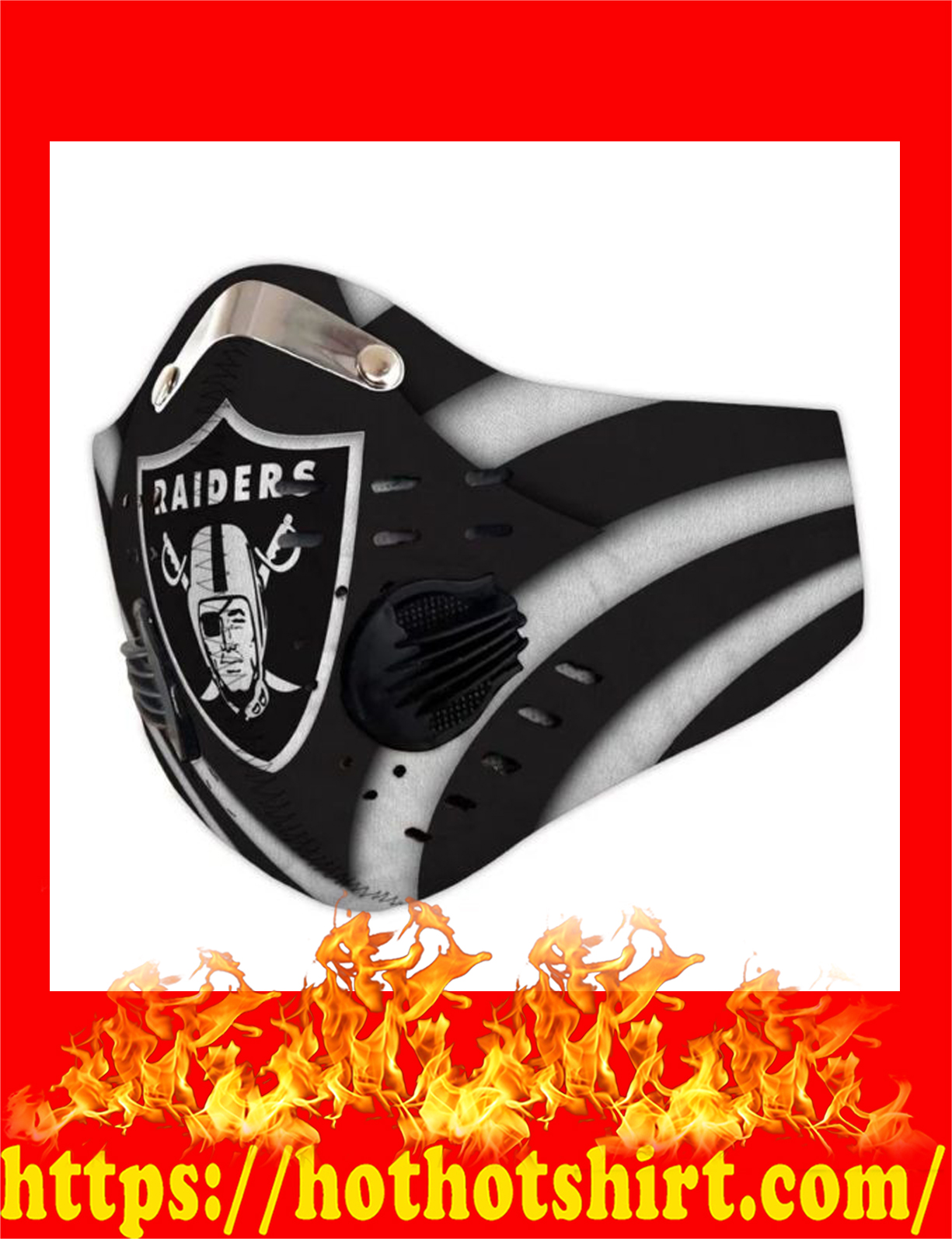 Raiders filter face mask - detail