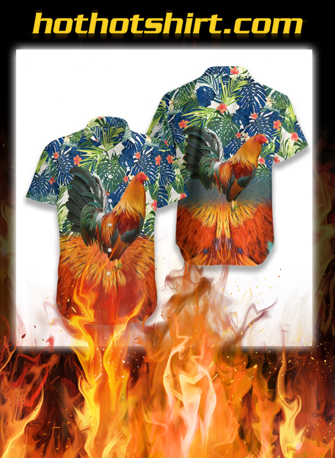 Rooster hawaiian shirt - L