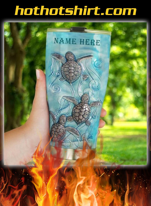 Sea turtle personalized custom name tumbler 1