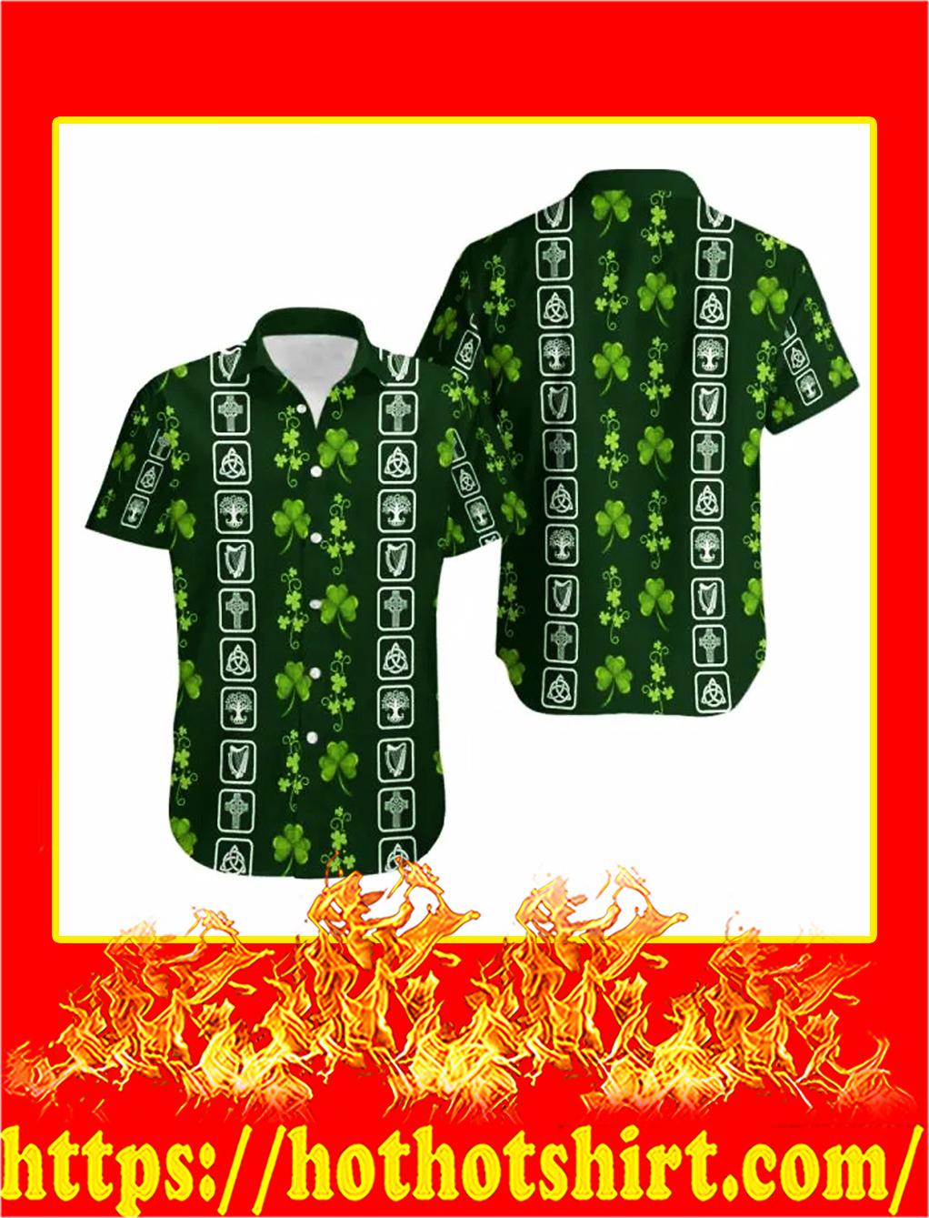 Shamrock irish symbols hawaiian shirt - S