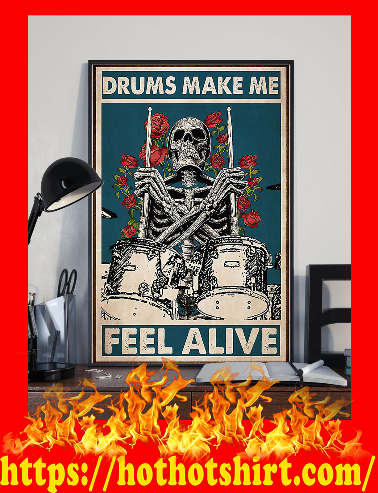 Skeleton drummer drums make me feel alive poster - Pic 2