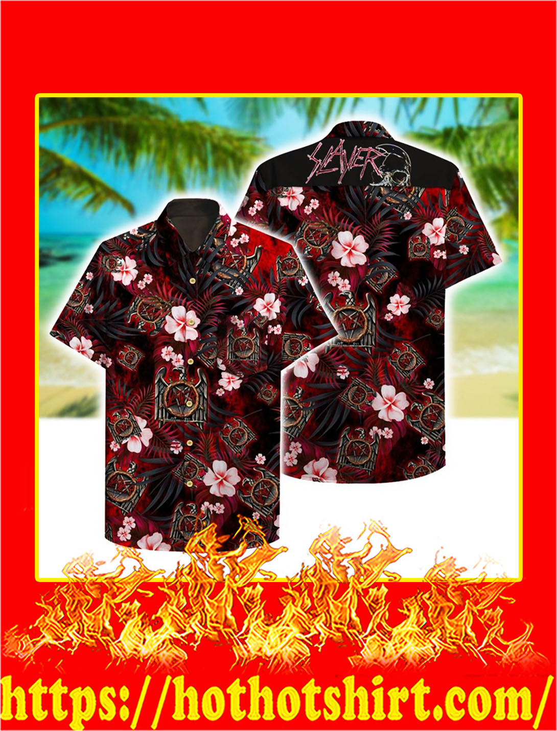 Slayer hawaii hawaiian shirt - L