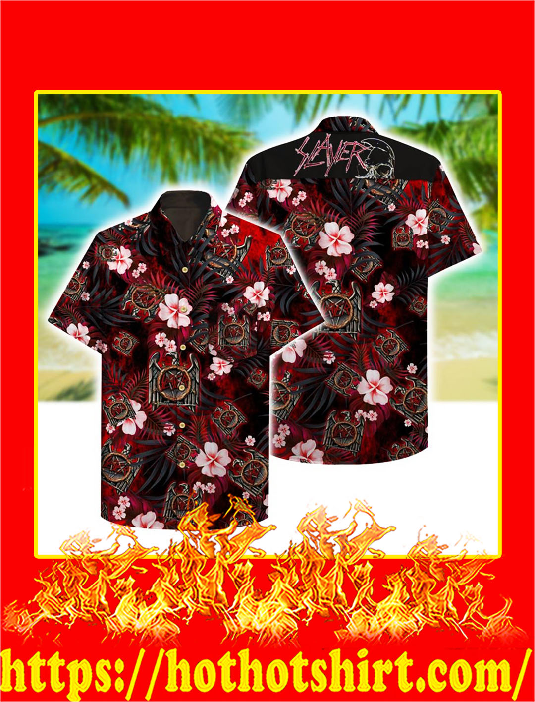 Slayer hawaii hawaiian shirt - M