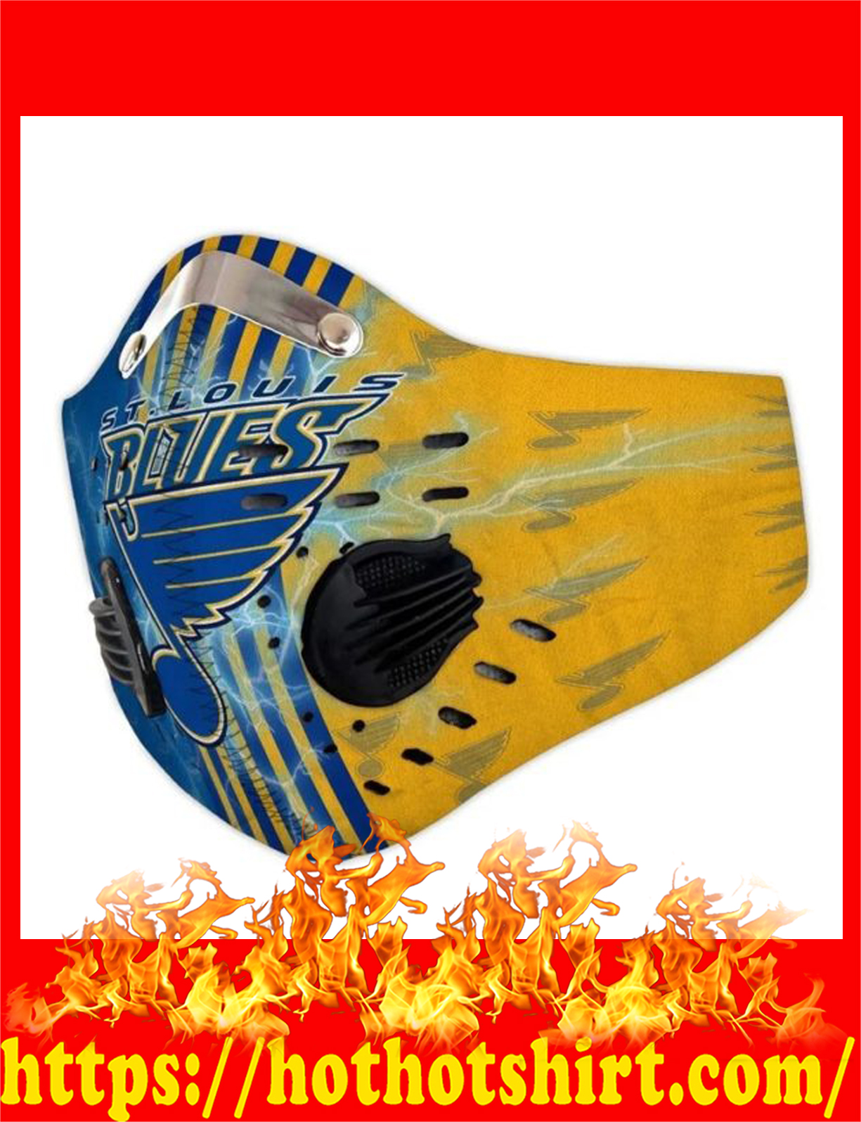 St louis blues filter face mask - detail