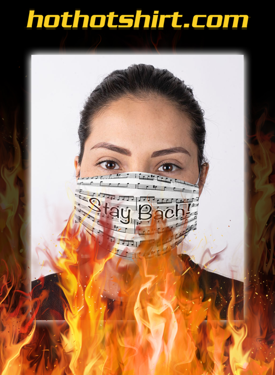 Stay bach sheet music face mask- pic 1