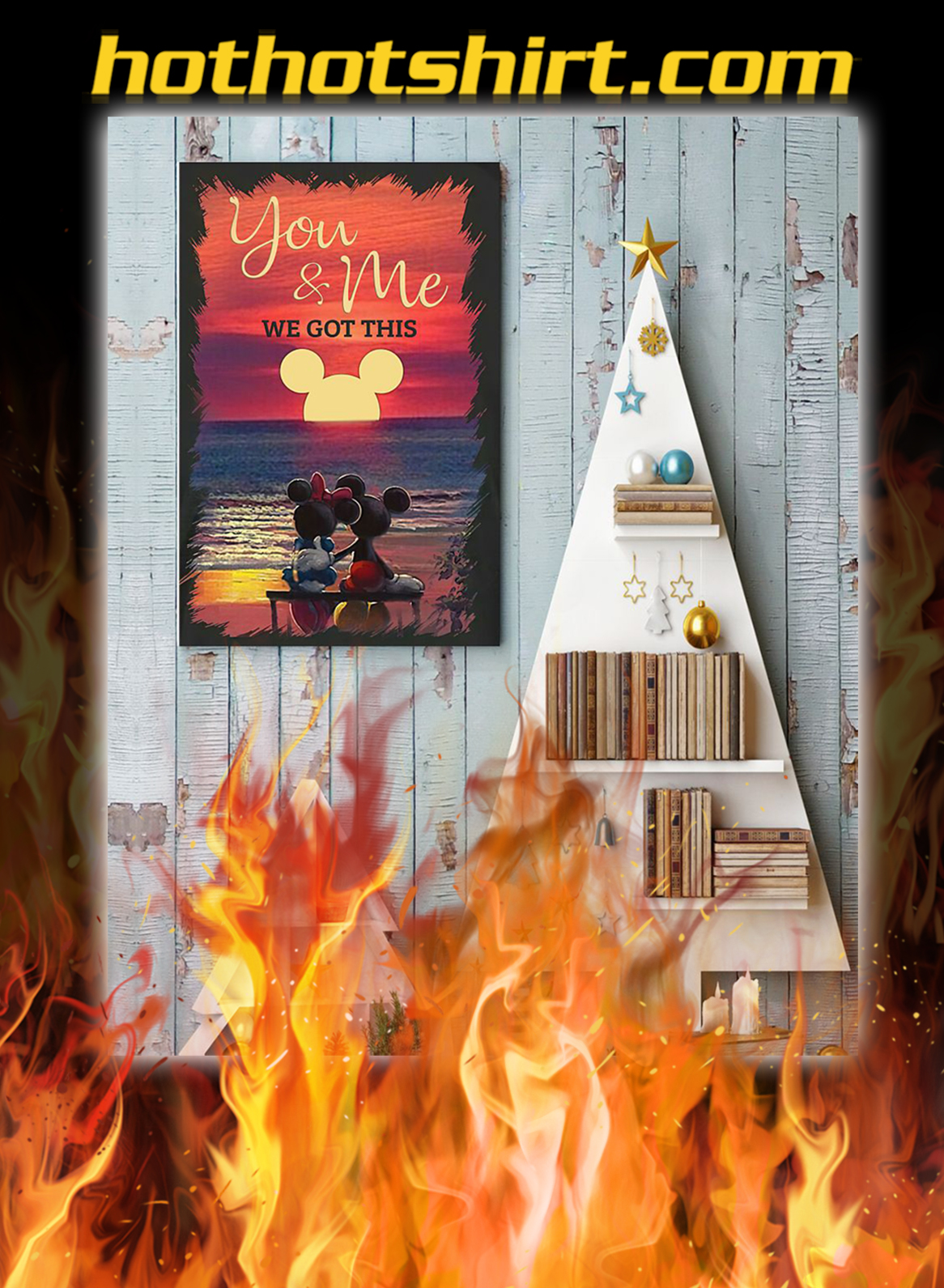 Sunset mickey mouse and minnie mouse you and me we got this poster- A2