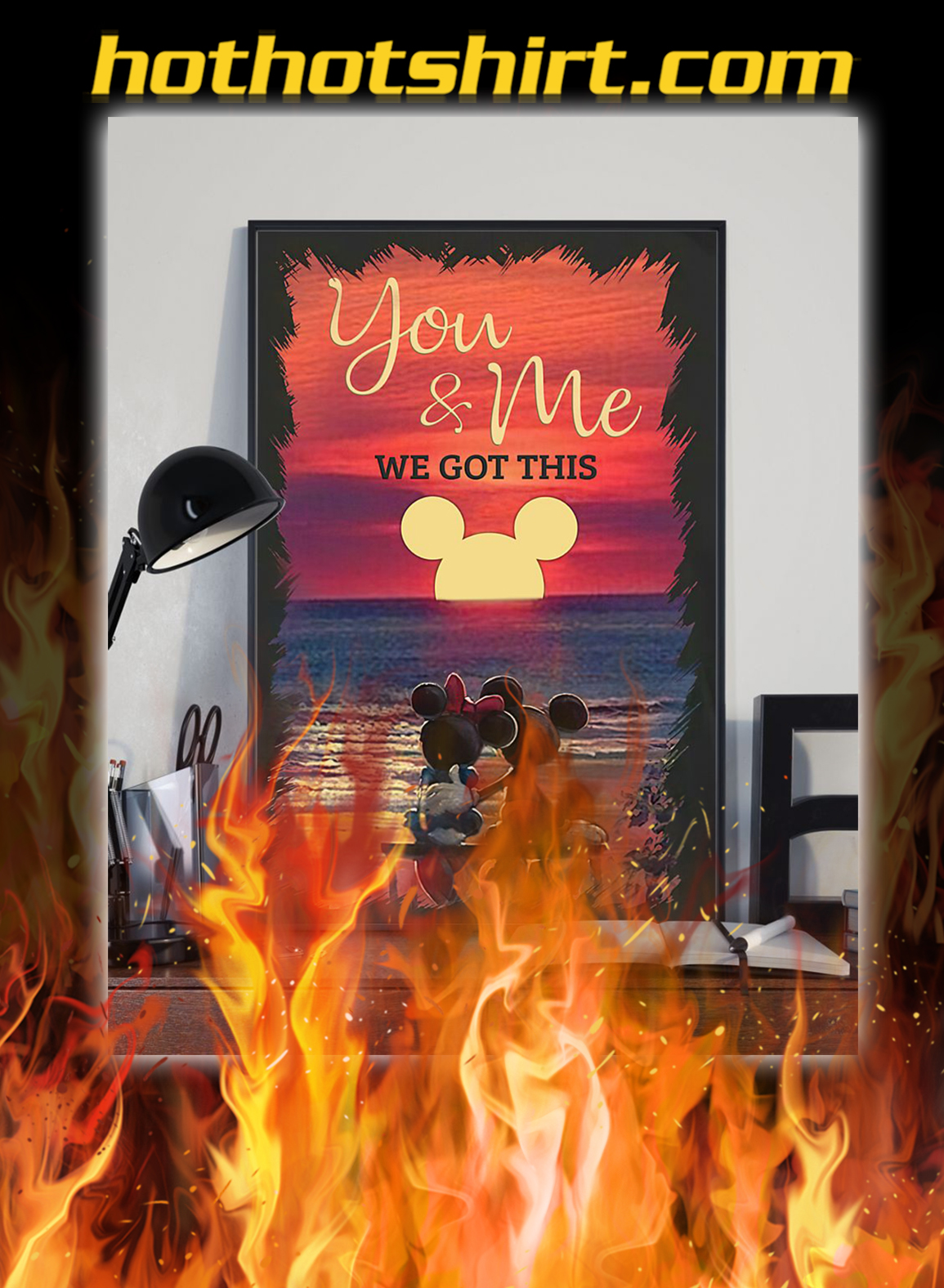 Sunset mickey mouse and minnie mouse you and me we got this poster- A3