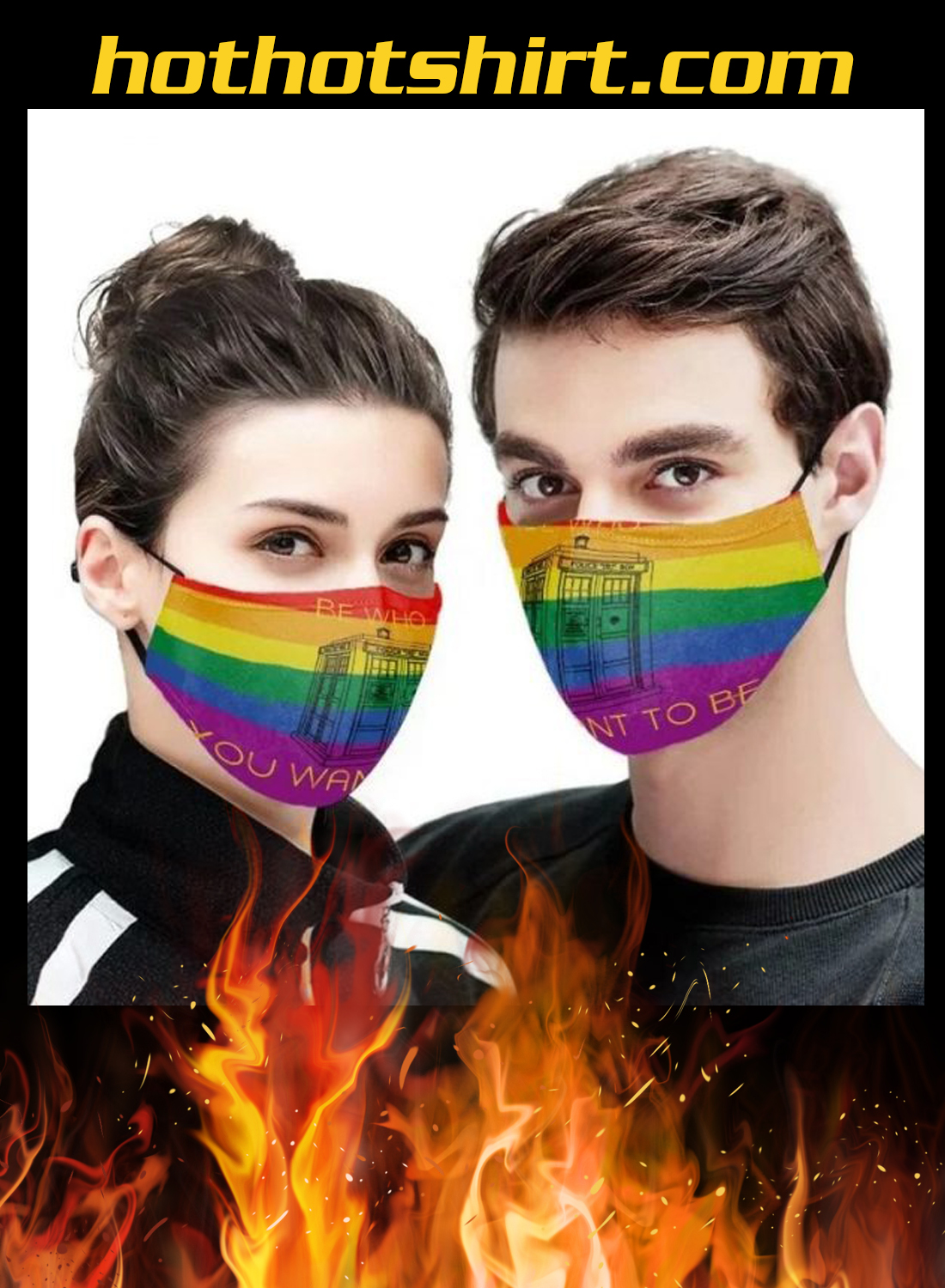 Tardis lgbt be who you want to be face mask 1