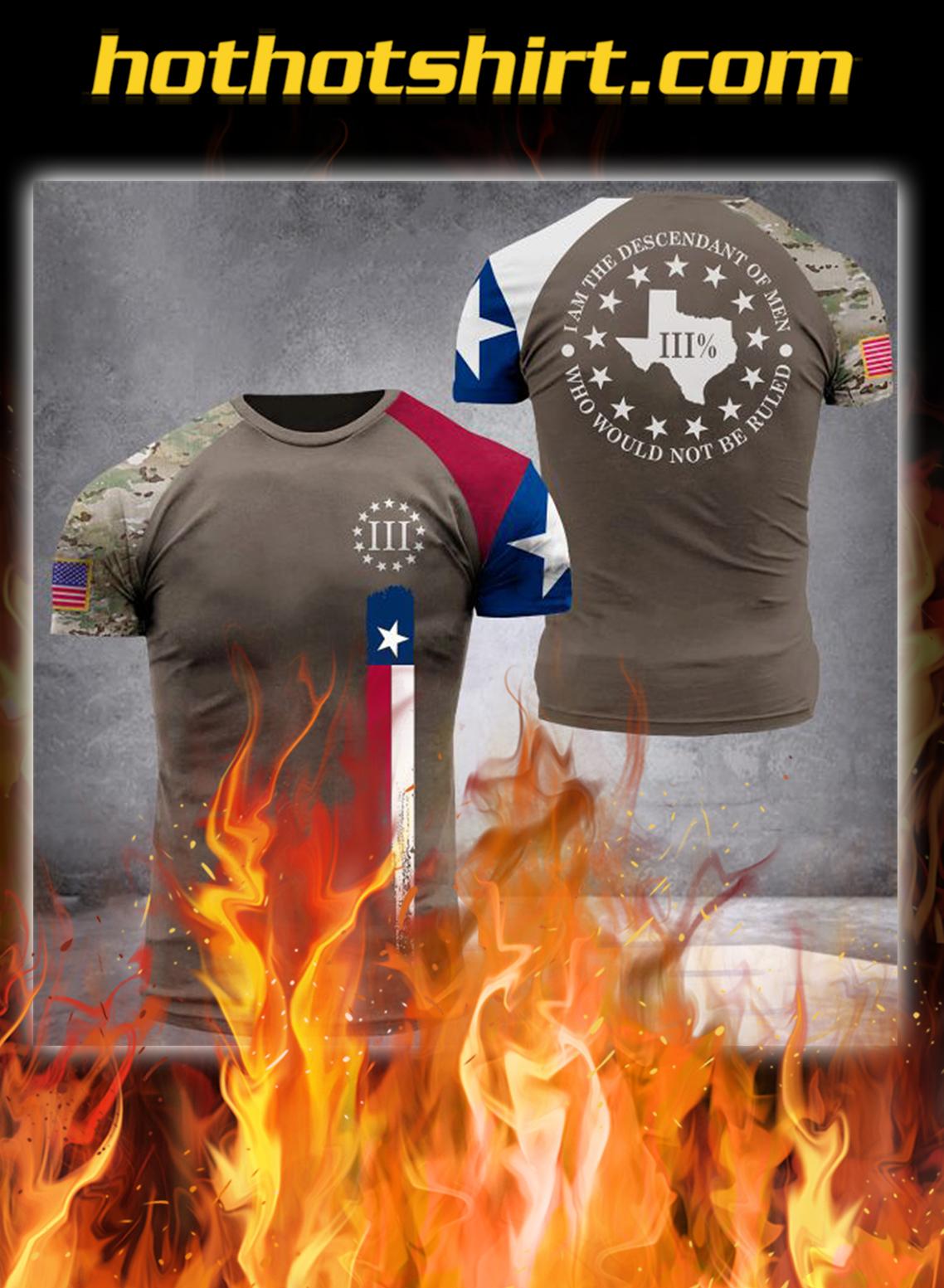 Texas three percenters digital camo all over printed 3d t-shirt - L