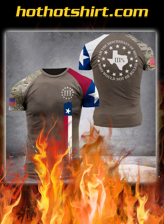 Texas three percenters digital camo all over printed 3d t-shirt - S