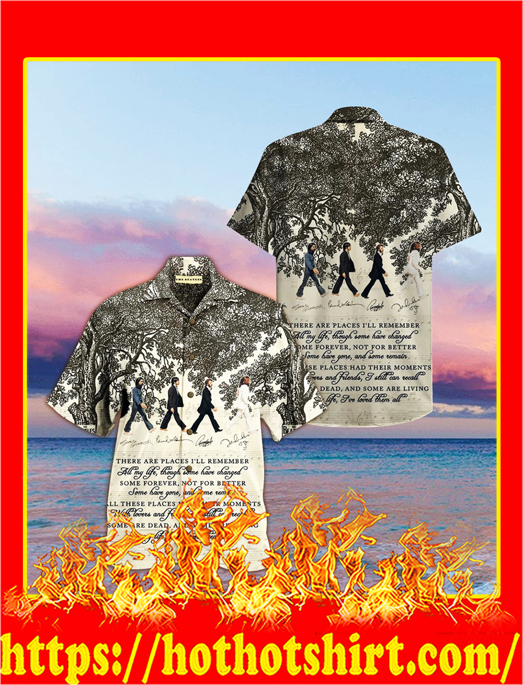 The beatles song lyrics there are places i'll remember hawaiian shirt- M