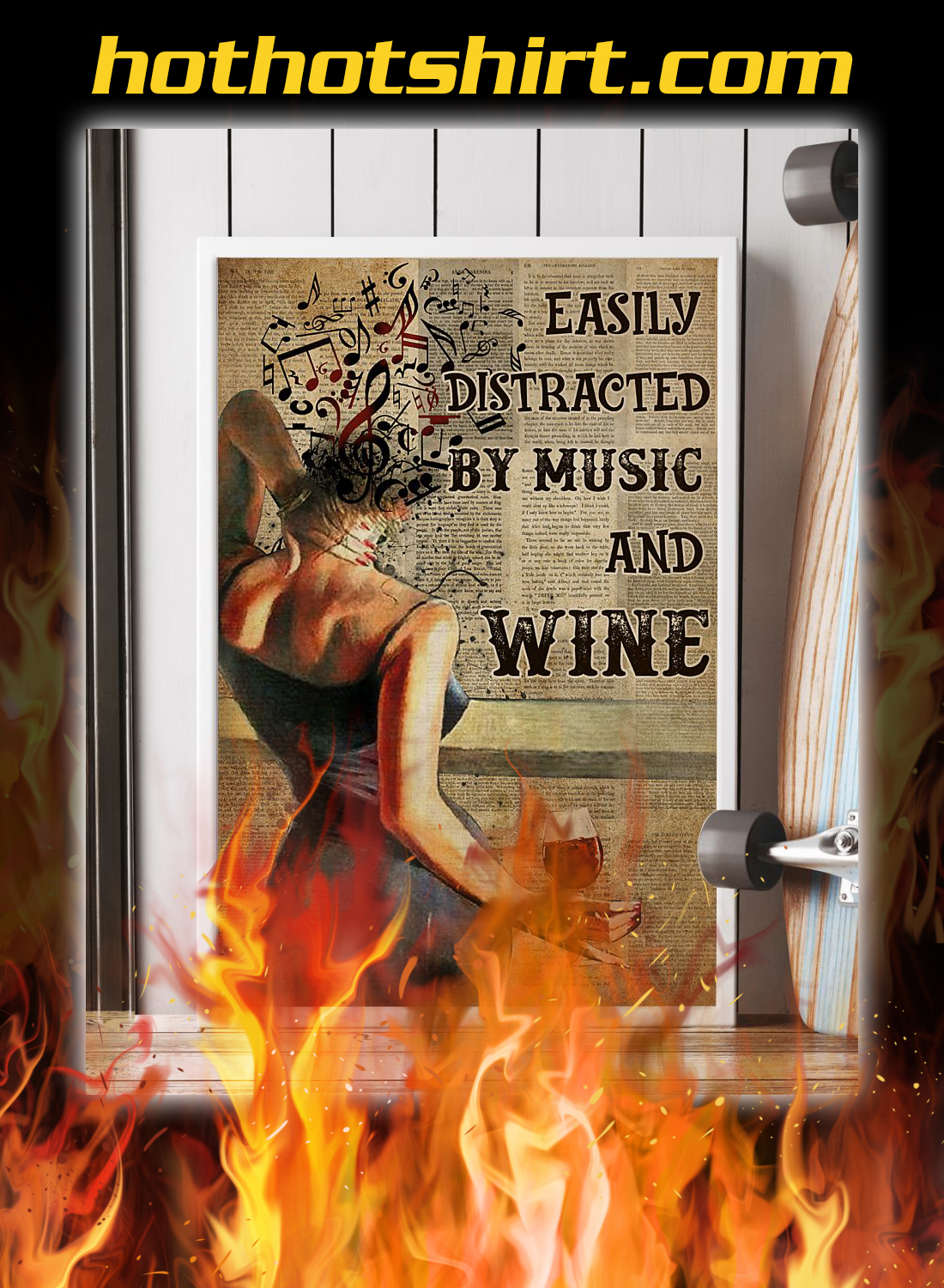Woman easily distracted by music and wine poster 2