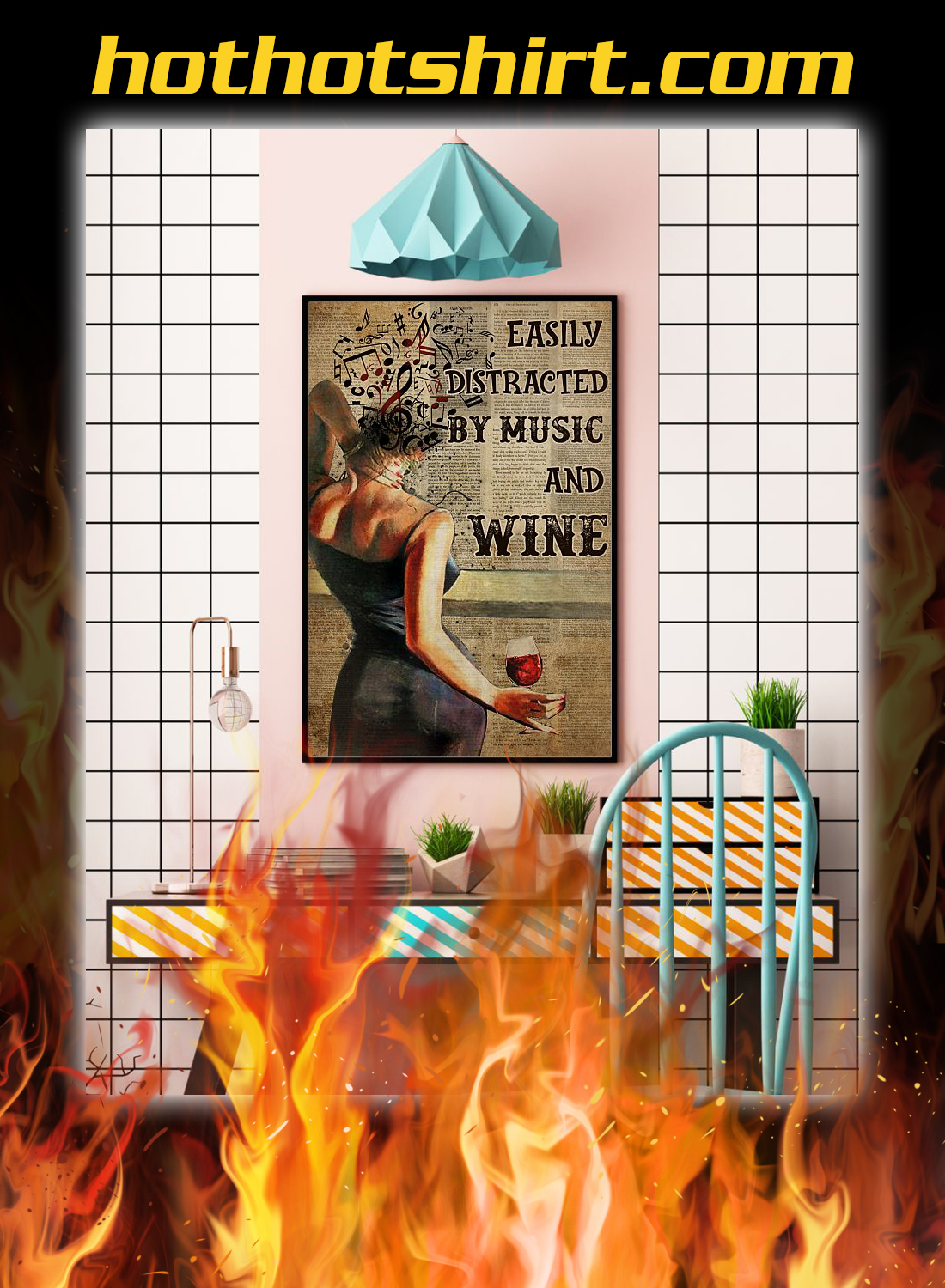 Woman easily distracted by music and wine poster 3