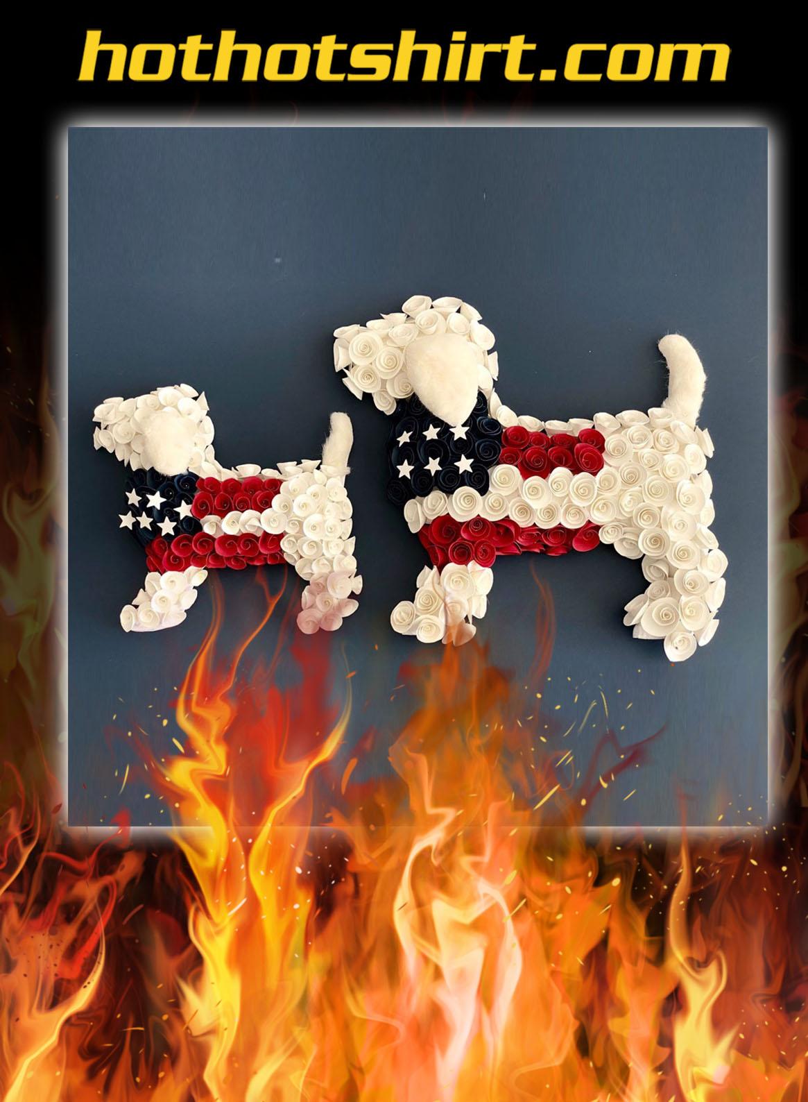 American Patriotic Puppy Wreath
