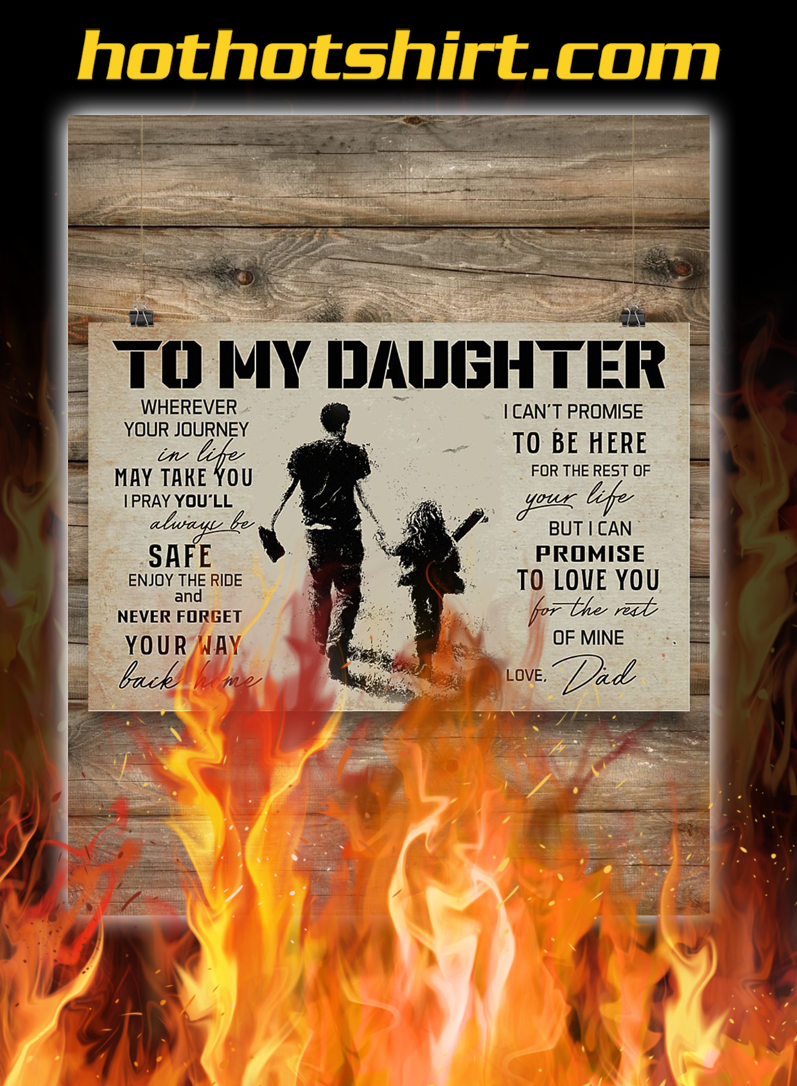 Baseball to my daughter love dad poster- A3