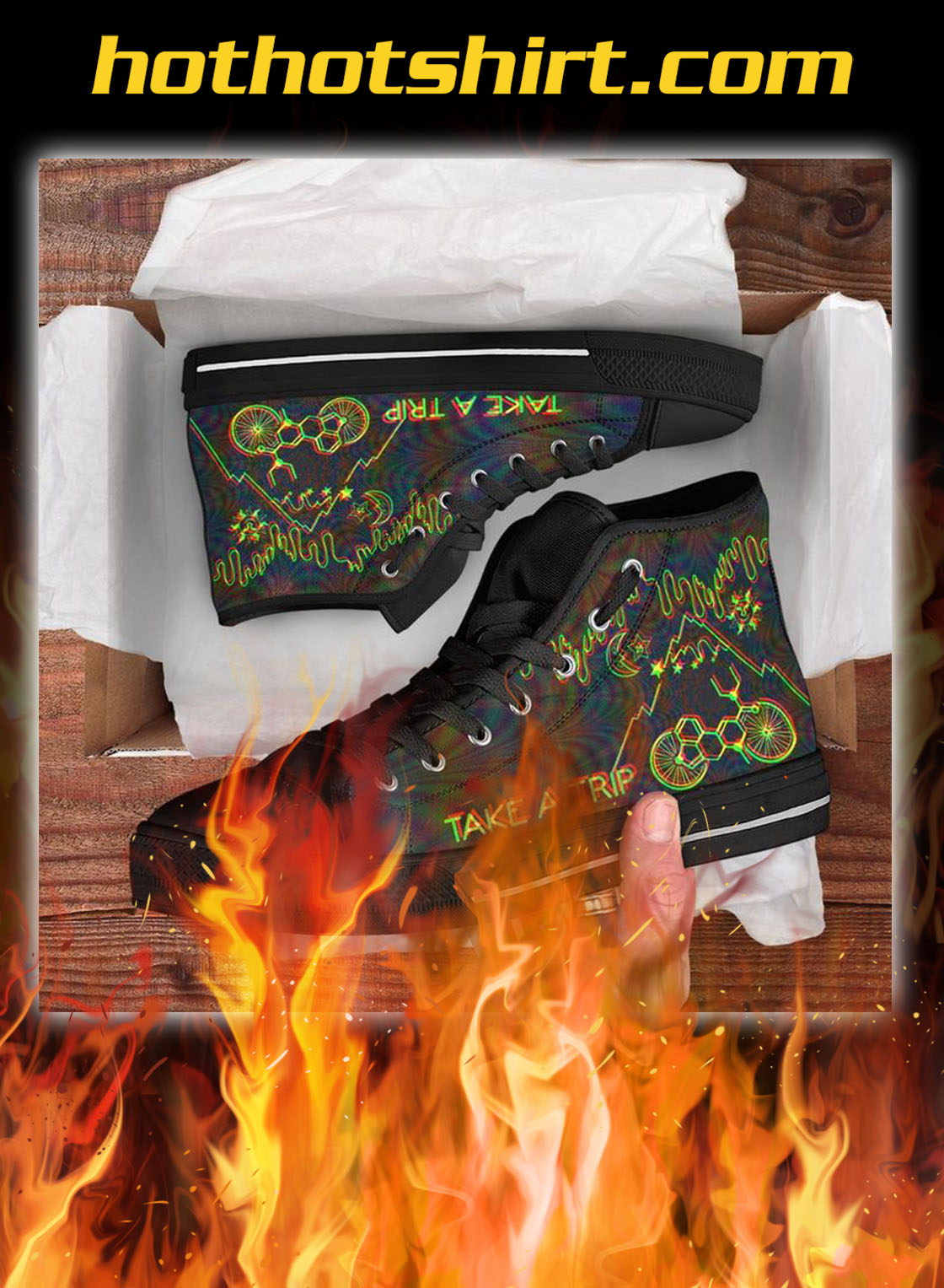 Bicycle day take a trip high top shoes- pic 1