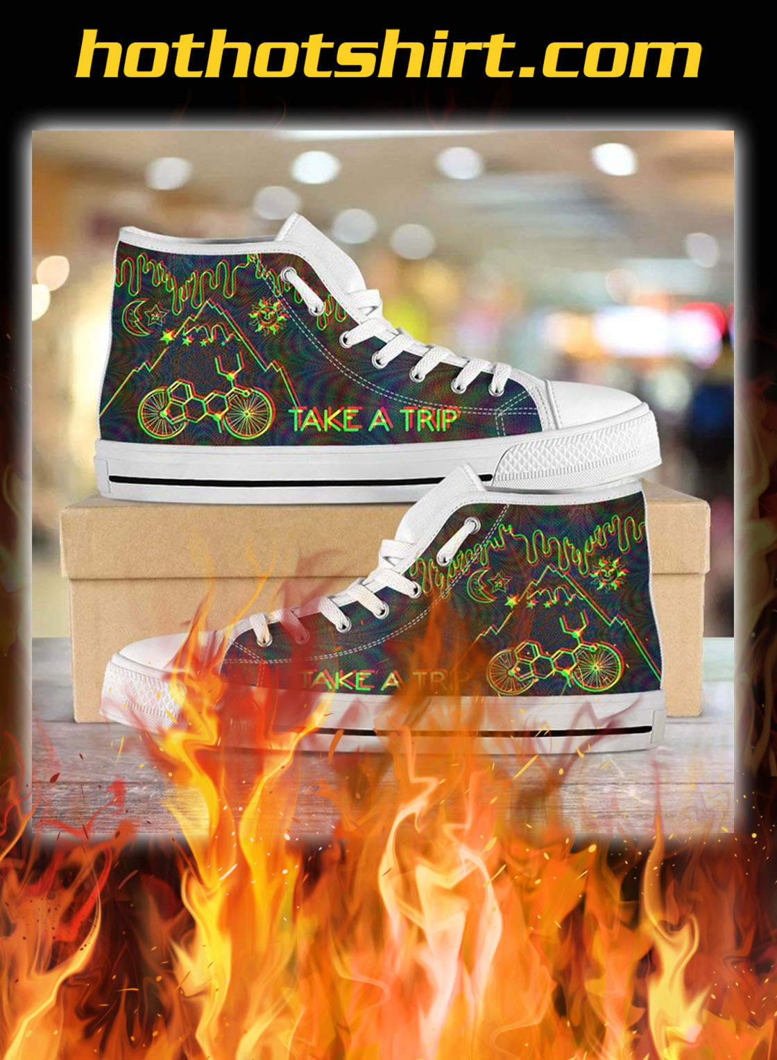Bicycle day take a trip high top shoes- pic 3
