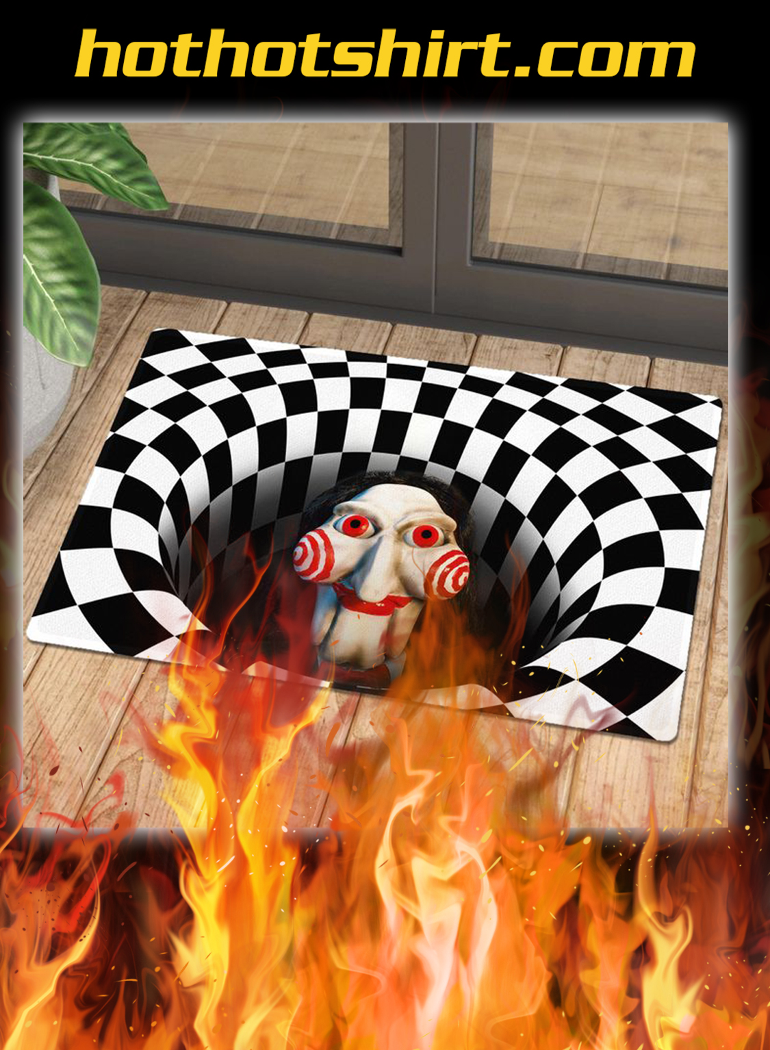 Billy jigsaw illusion halloween doormat