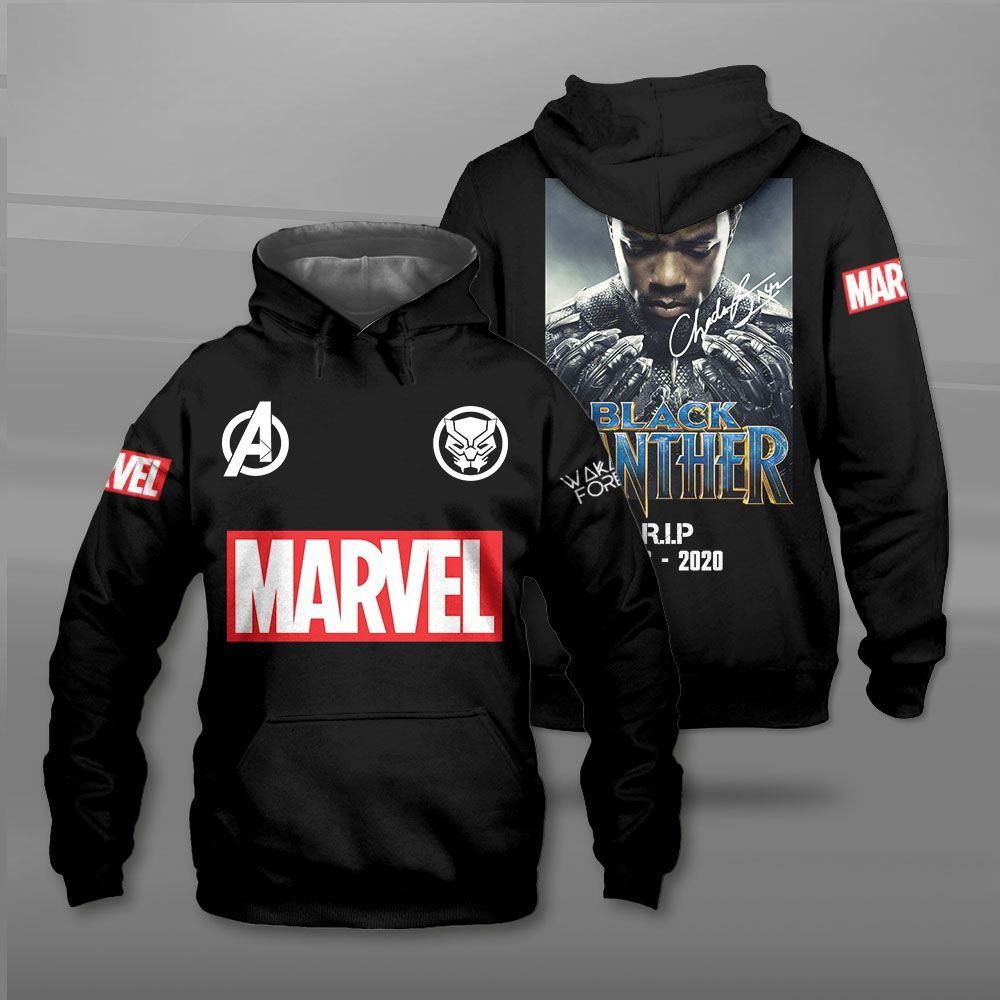 Black panther rip 1976 2020 marvel all over print 3d hoodie, shirt 2