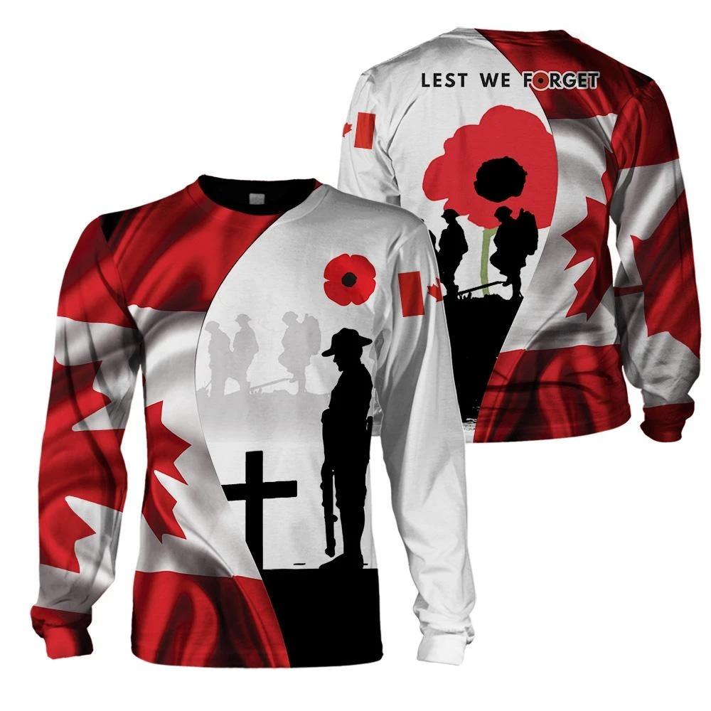Canada veteran kest we forget 3d hoodie, shirt 3