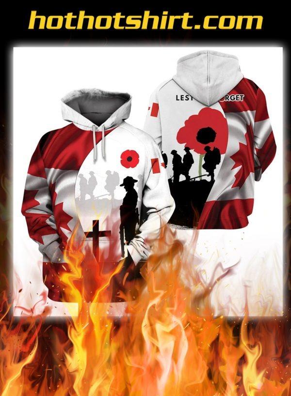 Canada veteran kest we forget 3d hoodie, shirt